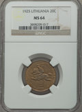 Lithuania, Lithuania: Republic 20 Centu 1925 MS64 NGC,...