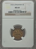 Lithuania, Lithuania: Republic 5 Centai 1925 MS64 NGC,...