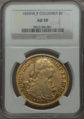 Colombia, Colombia: Ferdinand VII gold 8 Escudos 1820 NR-JF AU50 NGC,...