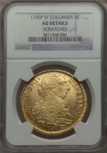 Colombia, Colombia: Charles IV gold 8 Escudos 1790 P-SF AU Details (Scratches) NGC,...