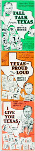Books:Americana & American History, Boyce House. Trio in A Package of Texas Humor. Titlesinclude: Tall Talk from Texas [together wi... (Total: 3Items)