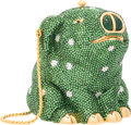 "Luxury Accessories:Accessories, Judith Leiber Full Bead Green & Silver Crystal Pig MinaudiereEvening Bag. Very Good Condition. 4"" Width x 4"" Heightx..."