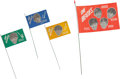 Music Memorabilia:Memorabilia, A Group of Four German Beatles Cloth Flags (1966)....