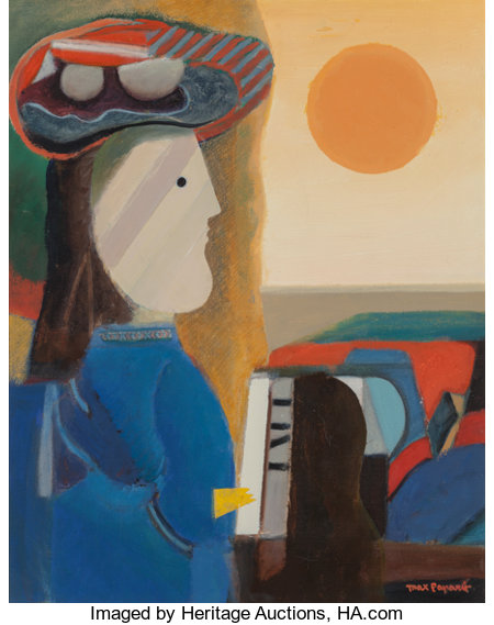 Max Papart (French, 1911-1994) American Lady Oil on canvas 34 x 27 inches (86.4 x 68.6 cm) Signed lower right: Max...