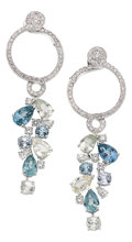 Estate Jewelry:Earrings, Sapphire, Diamond, White Gold Earrings, Chanel. ...