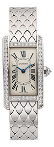 Estate Jewelry:Watches, Cartier Lady's Diamond, White Gold Tank Américaine Watch. ...