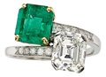 Estate Jewelry:Rings, Diamond, Emerald, Platinum, Gold Ring, Cartier. ...