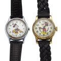 Timepieces:Wristwatch, Mickey Mouse & Minnie Mouse Wristwatches. ... (Total: 2 Items)