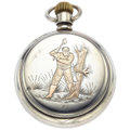 Timepieces:Pocket (post 1900), Waltham 17 Jewels Gold Inlay Back 18 Size Pocket Watch. ...