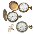 Timepieces:Pocket (post 1900), Three Pocket Watches For Parts Or Repair Veteran Is 23 Jewels. ...(Total: 3 Items)