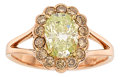 Estate Jewelry:Rings, Fancy Green-Yellow Diamond, Colored Diamond, Pink Gold Ring. ...(Total: 2 Items)