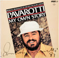 Music Memorabilia:Autographs and Signed Items, Luciano Pavarotti Signed My Own Story Double LP (London PAV2007, 1981)....