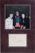 Music Memorabilia:Autographs and Signed Items, Jimi Hendrix Experience Signatures on One Sheet in MattedDisplay....