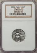 Modern Bullion Coins, 2002 $25 Quarter-Ounce Platinum Eagle MS70 NGC. NGC Census: (640). PCGS Population (103). Numismedia Wsl. Price for proble...