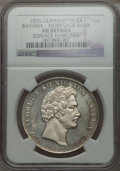German States:Bavaria, German States: Bavaria. Ludwig I Taler 1835 AU Details (SurfaceHairlines) NGC,...