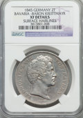 "German States:Bavaria, German States: Bavaria. Ludwig I ""Baron von Kreittmayr"" 2 Taler1845 XF Details (Surface Hairlines) NGC,..."