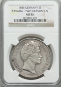 "German States:Bavaria, German States: Bavaria. Ludwig I "" Birth of Two Grandsons"" 2 Taler1845 AU53 NGC,..."