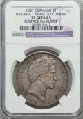 "German States:Bavaria, German States: Bavaria. Ludwig I ""Monetary Union"" 2 Taler 1837 XFDetails (Surface Hairlines) NGC,..."
