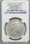 German States:Bavaria, German States: Bavaria. Ludwig I Taler 1834 UNC Details (SurfaceHairlines) NGC,...