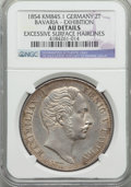 German States:Bavaria, German States: Bavaria. Maximilian II Glass Palace Exhibition 2Taler 1854 AU Details (Excessive Surface Hairlines) NGC,...