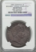 "German States:Bavaria, German States: Bavaria. Ludwig I ""Completion of Canal"" 2 Taler 1846AU Details (Obverse Damage) NGC,..."