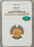 Indian Quarter Eagles, 1910 $2 1/2 MS63+ NGC. CAC....