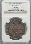 German States:Frankfurt am Main, German States: Frankfurt am Main. Free City 2 Gulden 1847 XF45NGC,...