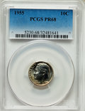 Proof Roosevelt Dimes, 1955 10C PR68 PCGS. PCGS Population (159/2). NGC Census:(1318/320). Mintage: 378,200. Numismedia Wsl. Price for problemfr...