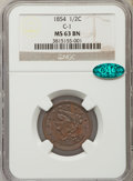Half Cents, 1854 1/2 C C-1, B-1, R.1, MS63 Brown NGC. CAC. NGC Census: (144/191). PCGS Population: (3/10). MS63. Mintage 55,358. ...