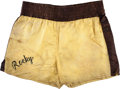 """Movie/TV Memorabilia:Costumes, A Pair of Boxing Trunks from """"Rocky III.""""..."""