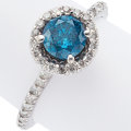 Estate Jewelry:Rings, Irradiated Blue Diamond, Diamond, White Gold Ring. ...
