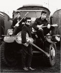"Music Memorabilia:Autographs and Signed Items, Beatles - Astrid Kirchherr Signed Large Format Photograph of JohnLennon, Stuart Sutcliffe, and George Harrison, ""Truck"" (1960..."