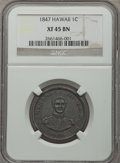 Coins of Hawaii: , 1847 1C Hawaii Cent XF45 NGC. NGC Census: (20/266). PCGS Population(20/361). Mintage: 100,000. ...