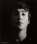 "Music Memorabilia:Photos, Beatles - Astrid Kirchherr Large Format Photograph of John Lennon,""Black Portrait 1"" (Hamburg, 1962)...."