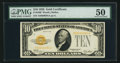Small Size:Gold Certificates, Fr. 2400 $10 1928 Gold Certificate. PMG About Uncirculated 50.. ...