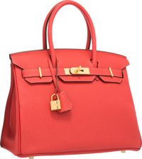 Hermes 30cm Rouge Pivoine Togo Leather Birkin Bag with Gold Hardware Excellent to Pristine Condition