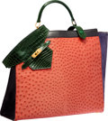 Luxury Accessories:Bags, Hermes Shiny Vert Emerald Alligator, Rouge Vif Ostrich, Violet VeauDoblis Suede & Black Calf Box Leather Sac Himalaya Bag wit...