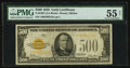 Small Size:Gold Certificates, Fr. 2407 $500 1928 Gold Certificate. PMG About Uncirculated 55 Net.. ...