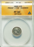 1869 10C Standard Silver Ten Cents, Judd-702, Pollock-781, R.5, -- Cleaned -- ANACS. PR60 Details. NGC Census: (0/19). P...