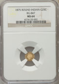 California Fractional Gold: , 1875 25C Indian Round 25 Cents, BG-847, R.4, MS64 NGC. NGC Census:(8/2). PCGS Population (28/2). ...
