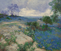 Julian Onderdonk (American, 1882-1922) Texas Landscape with Bluebonnets Oil on canvas 25 x 30 inc