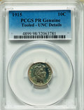 Proof Barber Dimes, 1915 10C -- Tooled -- PCGS Genuine. Unc Details. NGC Census: (1/130). PCGS Population (1/154). Mintage: 450. Numismedia Wsl...