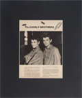Music Memorabilia:Autographs and Signed Items, The Everly Brothers Signed Page....