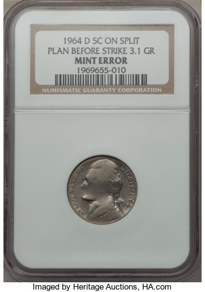 Errors 1964 D 5C Jefferson Nickel Struck On Split Planchet BeforeStrike