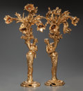 Decorative Arts, French:Lamps & Lighting, A Pair of French Art Nouveau Figural Gilt Bronze Three-LightTorchères, early 20th century. 29-1/2 inches high (74.9 cm). ...(Total: 2 Items)