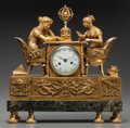 Timepieces:Clocks, A Charles X Gilt Bronze and Marble Figural Clock with AstrologicalAllegory, early 19th century. 16 inches high x 15 inches ...(Total: 3 Items)