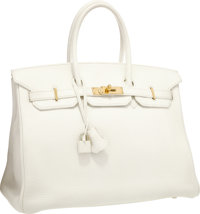 Hermes 35cm White Clemence Leather Birkin Bag with Gold Hardware Very Good to Excellent Condition