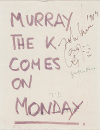 Beatles - A Sign From the Montreal Bed-In For Peace Signed By John Lennon and Yoko Ono (1969)