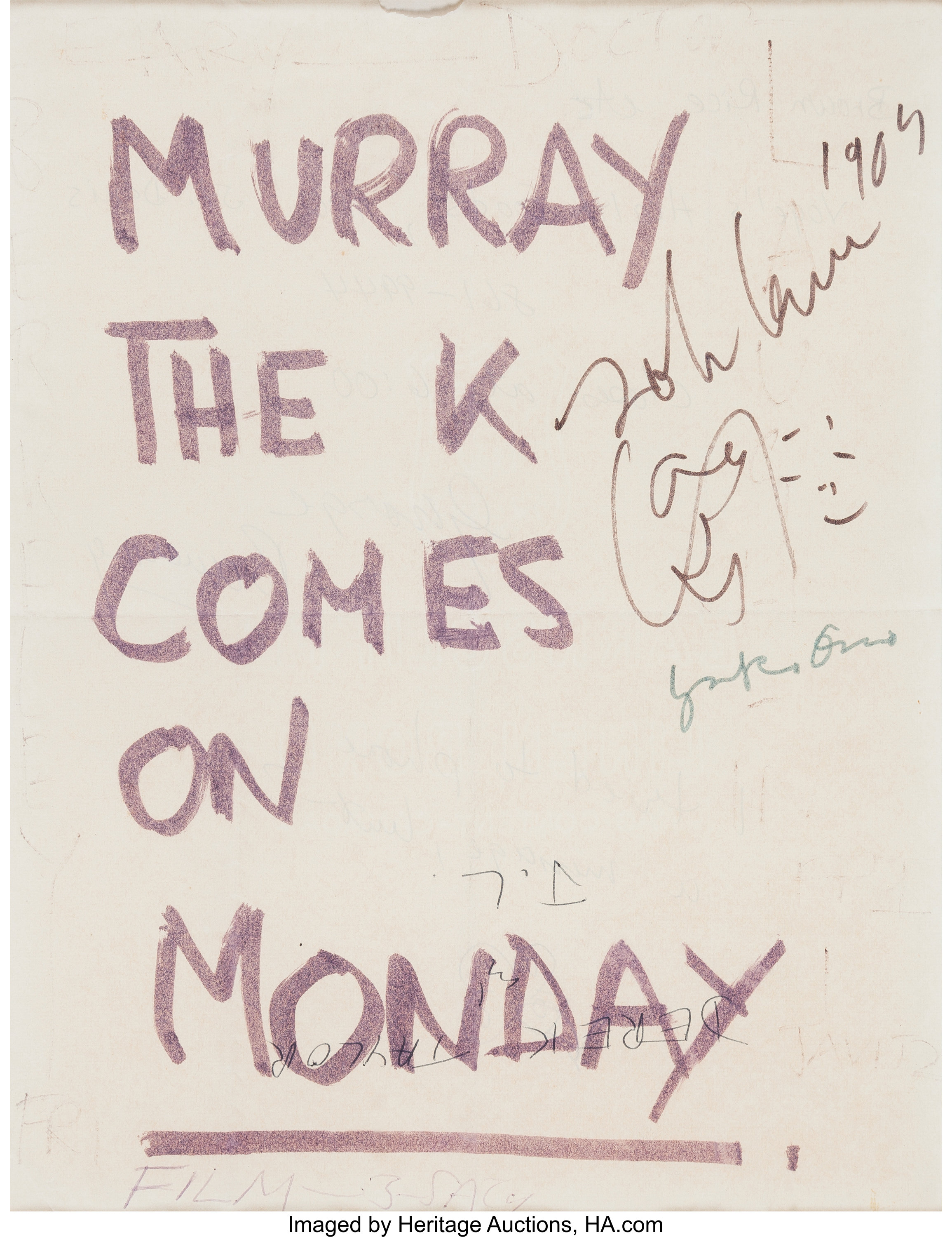 Beatles A Sign From The Montreal Bed In For Peace Signed By John Lot 90180 Heritage Auctions