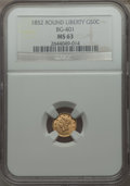California Fractional Gold: , 1852 50C Liberty Round 50 Cents, BG-401, R.3, MS63 NGC. NGC Census:(9/5). PCGS Population (25/13). ...